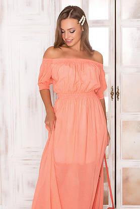 Летнее шифоновое платье в пол с открытыми плечами, фото 3