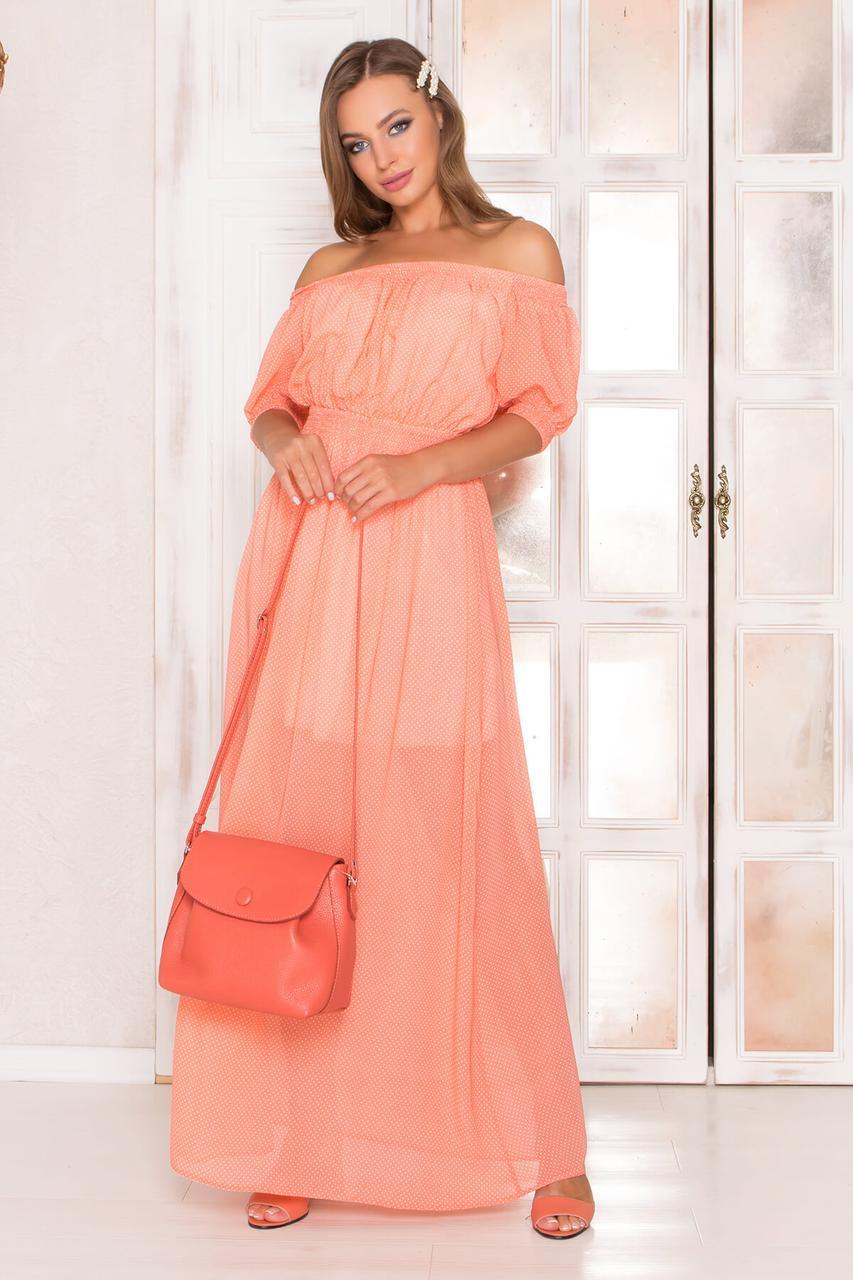 Летнее шифоновое платье в пол с открытыми плечами