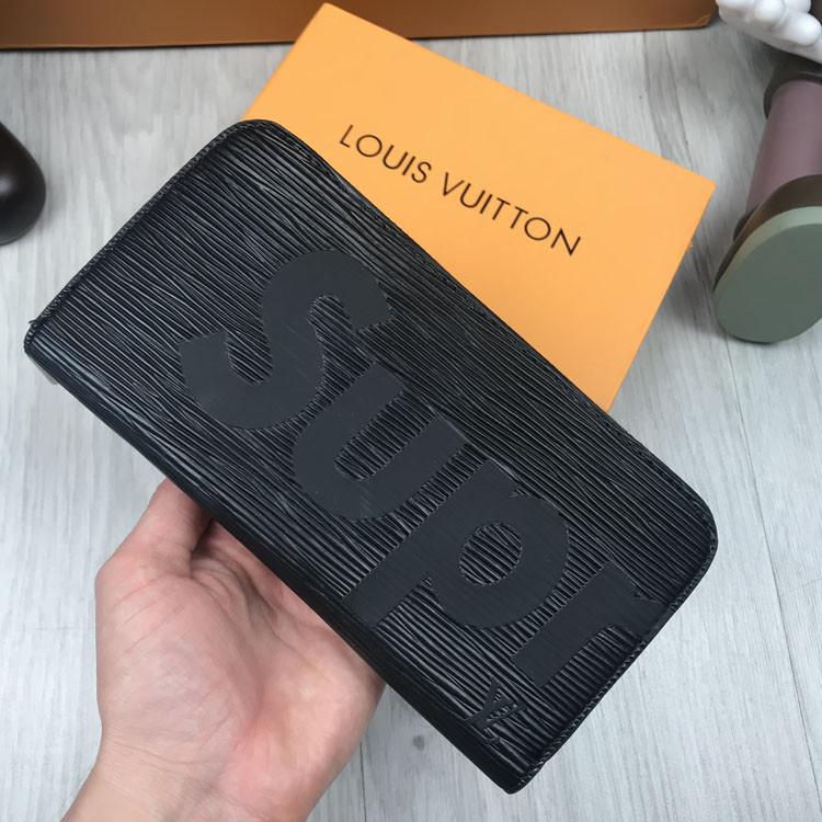 Хайповый кошелек Louis Vuitton Supreme черный Качество портмоне Новинка 2019 года Луи Виттон Суприм копия