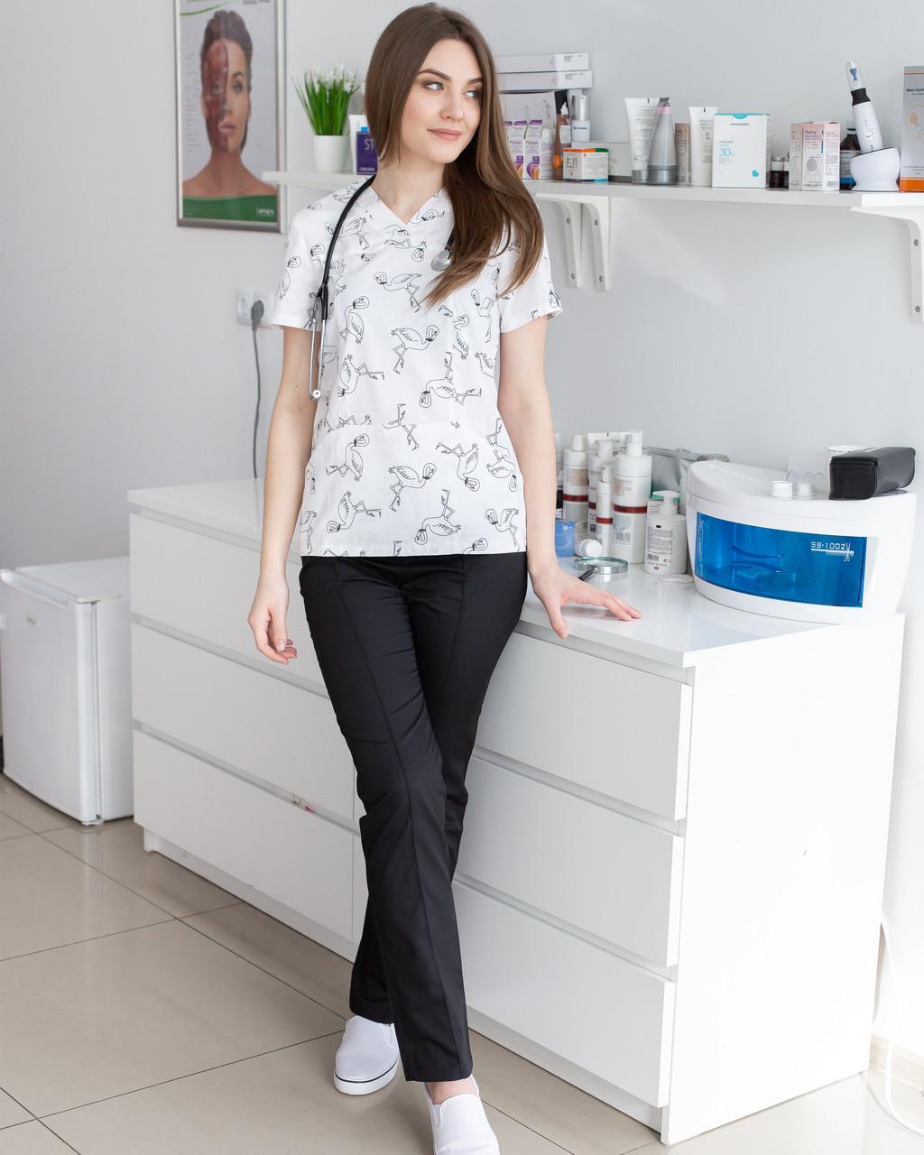 Медицинский женский костюм Топаз принт фламинго черные
