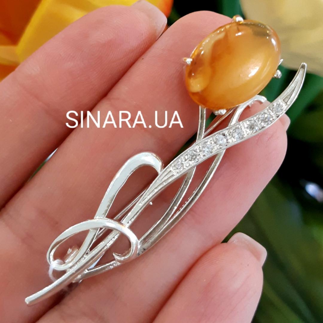 Серебряная брошь с натуральным янтарем - Янтарь брошь серебряная