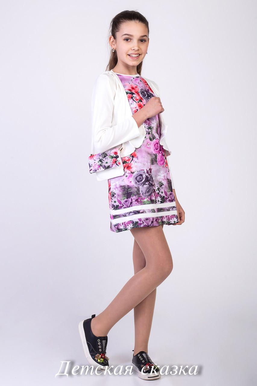 Детское платье с белоснежным воротничком и длинным рукавом возраст от 6 до 9 лет