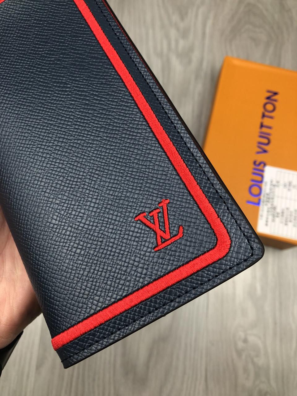f8785a7906f0 Модный кошелек Louis Vuitton серый натуральная кожа Люкс портмоне Трендовое  Молодежное Луи Виттон копия, ...