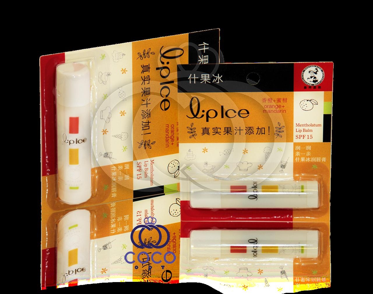 Корейская гигиеническая помада-бальзам для губ Mentholatum Lip Ice Orange + Mandarin