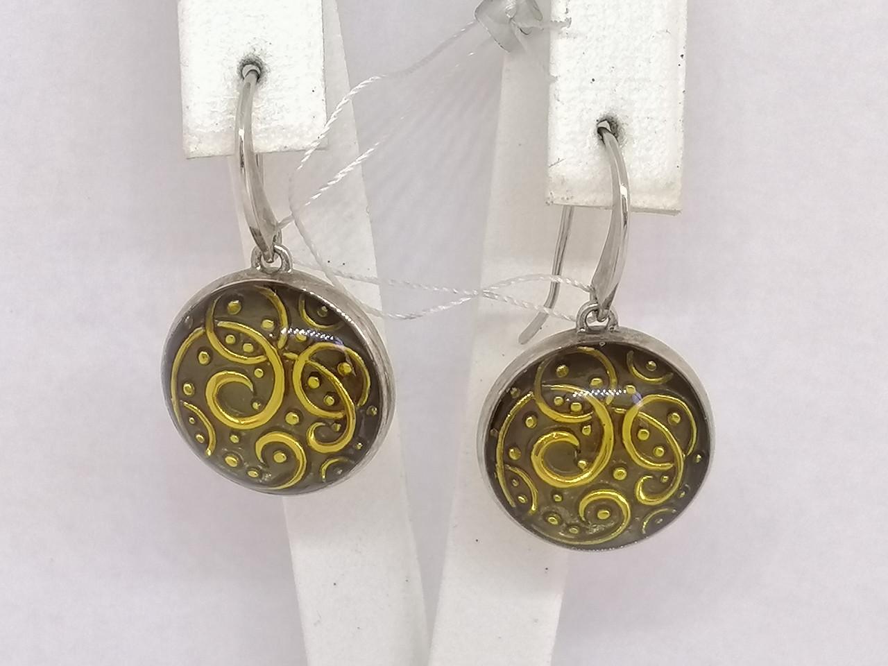 Серебряные серьги с эмалью. Артикул 1125187