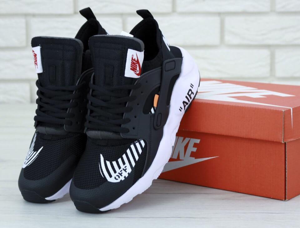 Черные кроссовки Nike Air Huarache Off White (Найк Хуараче)