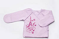 Утепленная распашонка для новорожденной девочки с принтом Paris