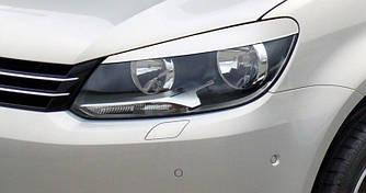 Реснички бровки передние фары VW Touran (2010+) пластик