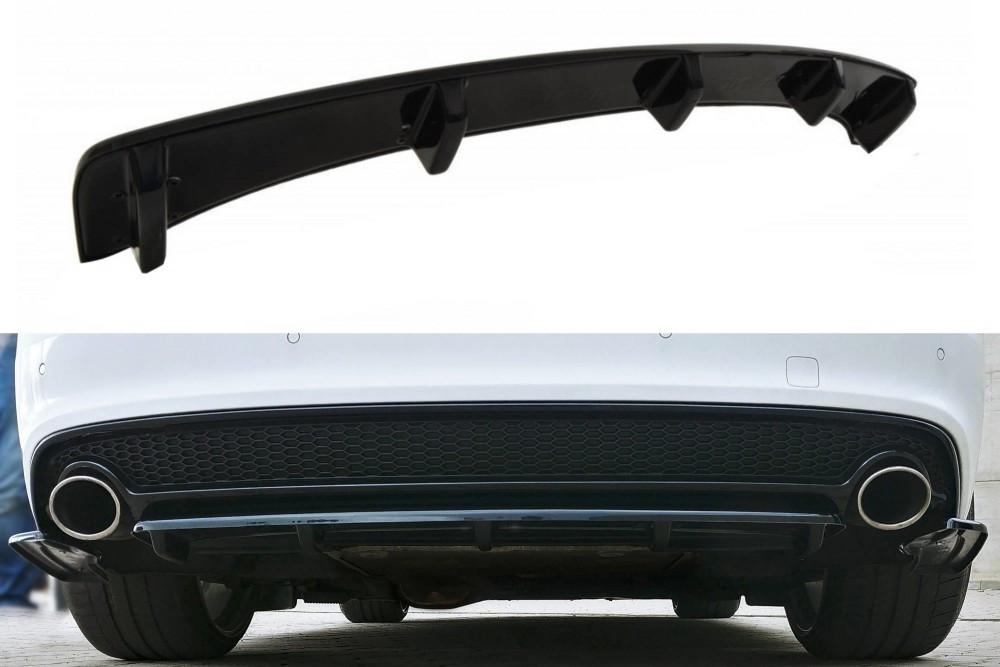 Диффузор юбка заднего бампера тюнинг Audi A5 S-line рестайл с вертикальными ребрами
