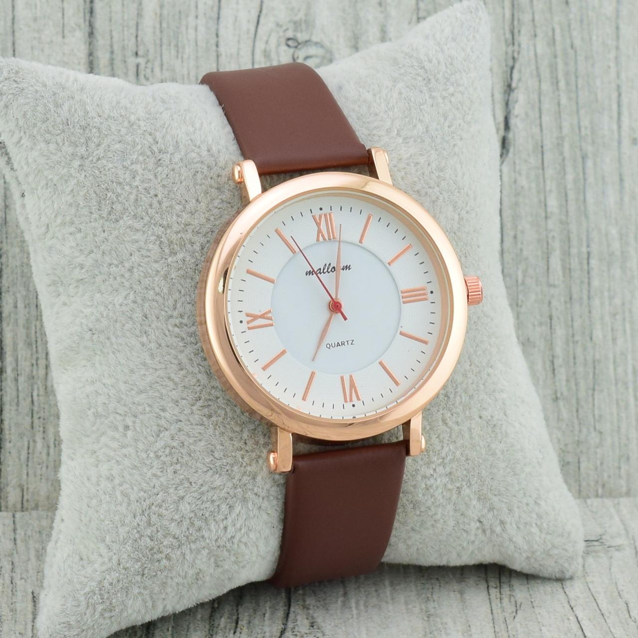 Часы G-083 диаметр циферблата 3.2 см, длина ремешка 16-21 см, коричневый цвет, позолота РО