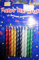 Свечи для торта спираль хром