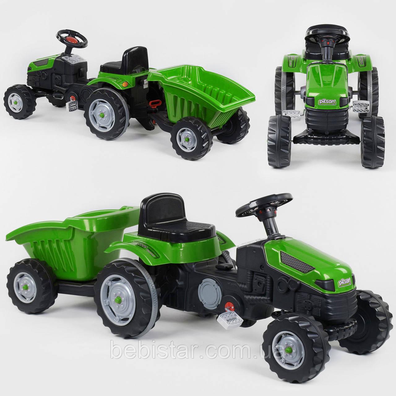 Трактор педальный зеленый пластиковые колеса с прицепом звуковым сигналом от 3-х лет