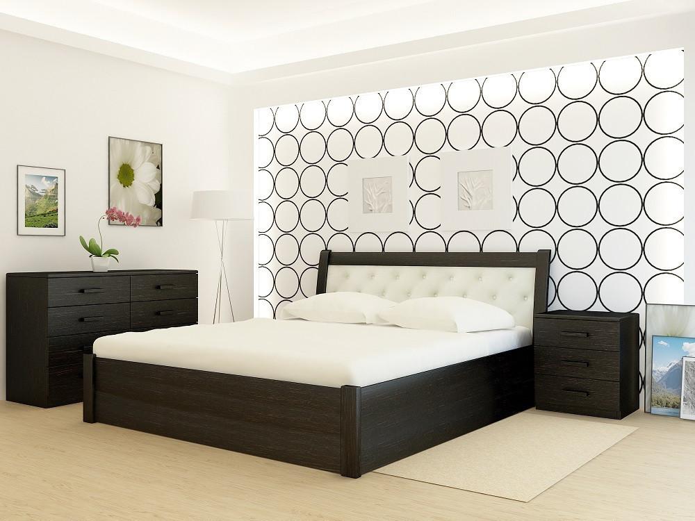 Кровать деревянная YASON Las Vegas PLUS Вишня Вставка в изголовье Titan Cream (Массив Ольхи либо Ясеня)