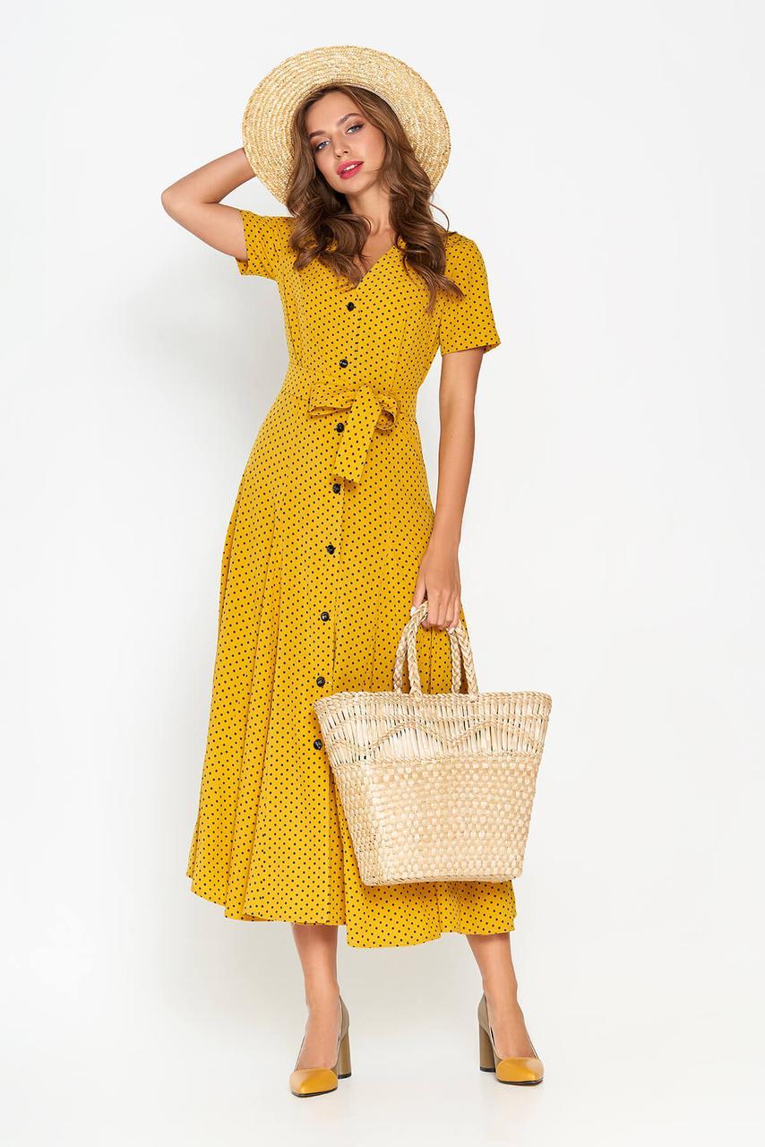 Летнее платье рубашка длинное в горошек желтое