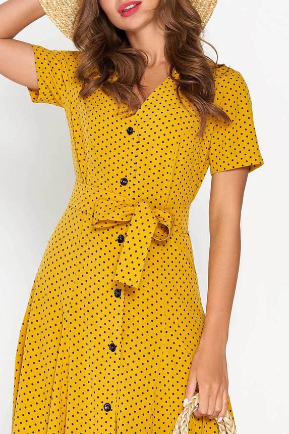 Летнее платье рубашка длинное в горошек желтое, фото 2
