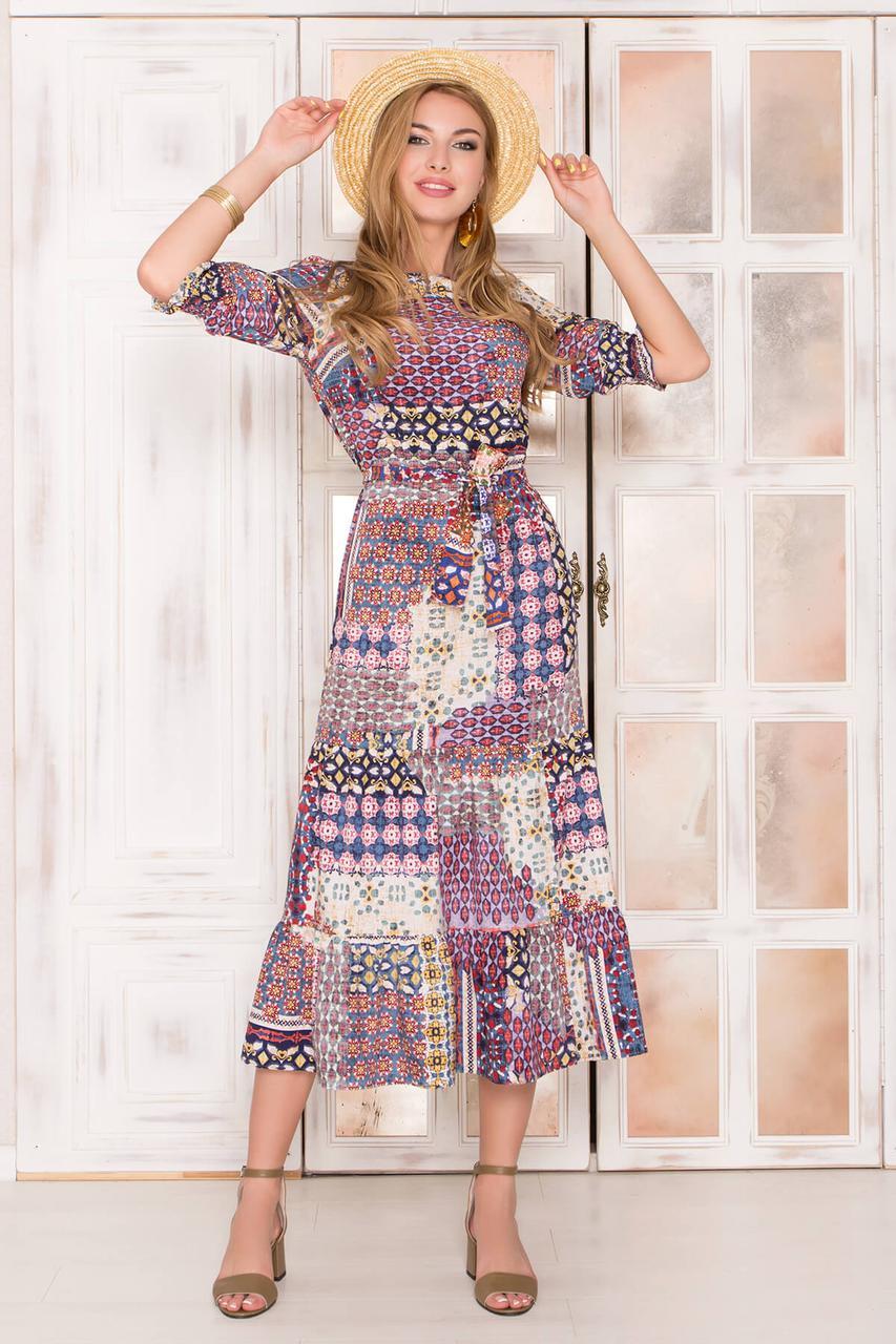 Летнее платье длинное с принтом