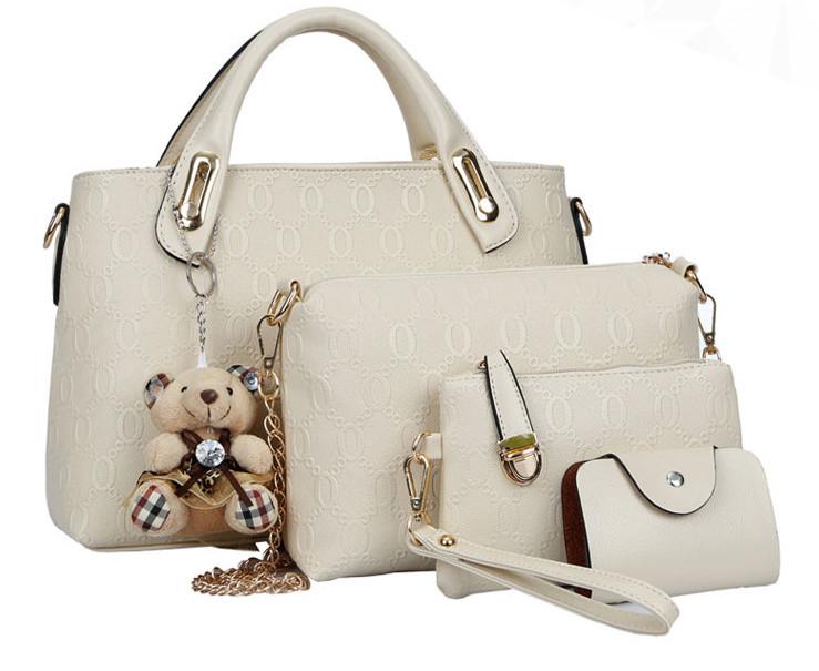 Набор женских сумок 4 предмета серого цвета Брелок в подарок! 01131