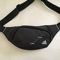 Поясная сумка черная Adidas 2 отделения (Бананка, Сумка на пояс, сумка на плечо), фото 1