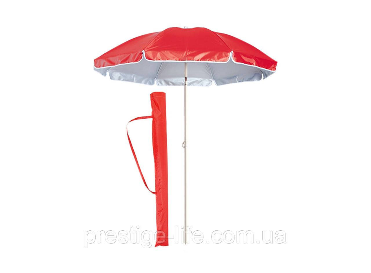 Пляжный, садовой, торговый Зонт диаметром 3м, с 10 спицами. Пластиковые спицы. Серебренное покрытие. Красный