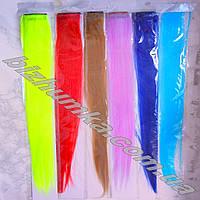 Длинные яркие накладные волосы, цветные пряди на заколках-клипсах (49 см)