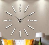 3-D большие настенные часы пуля серебро, зеркальные от 60 см до 90 см