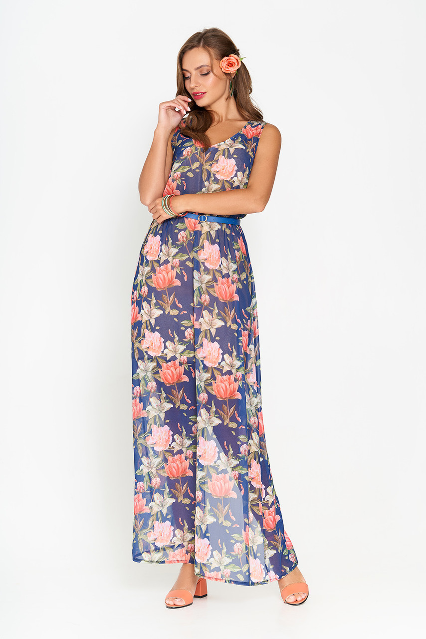 98b69411d67 Летнее шифоновое платье в пол синее - Интернет-магазин одежды ALLSTUFF в  Киеве