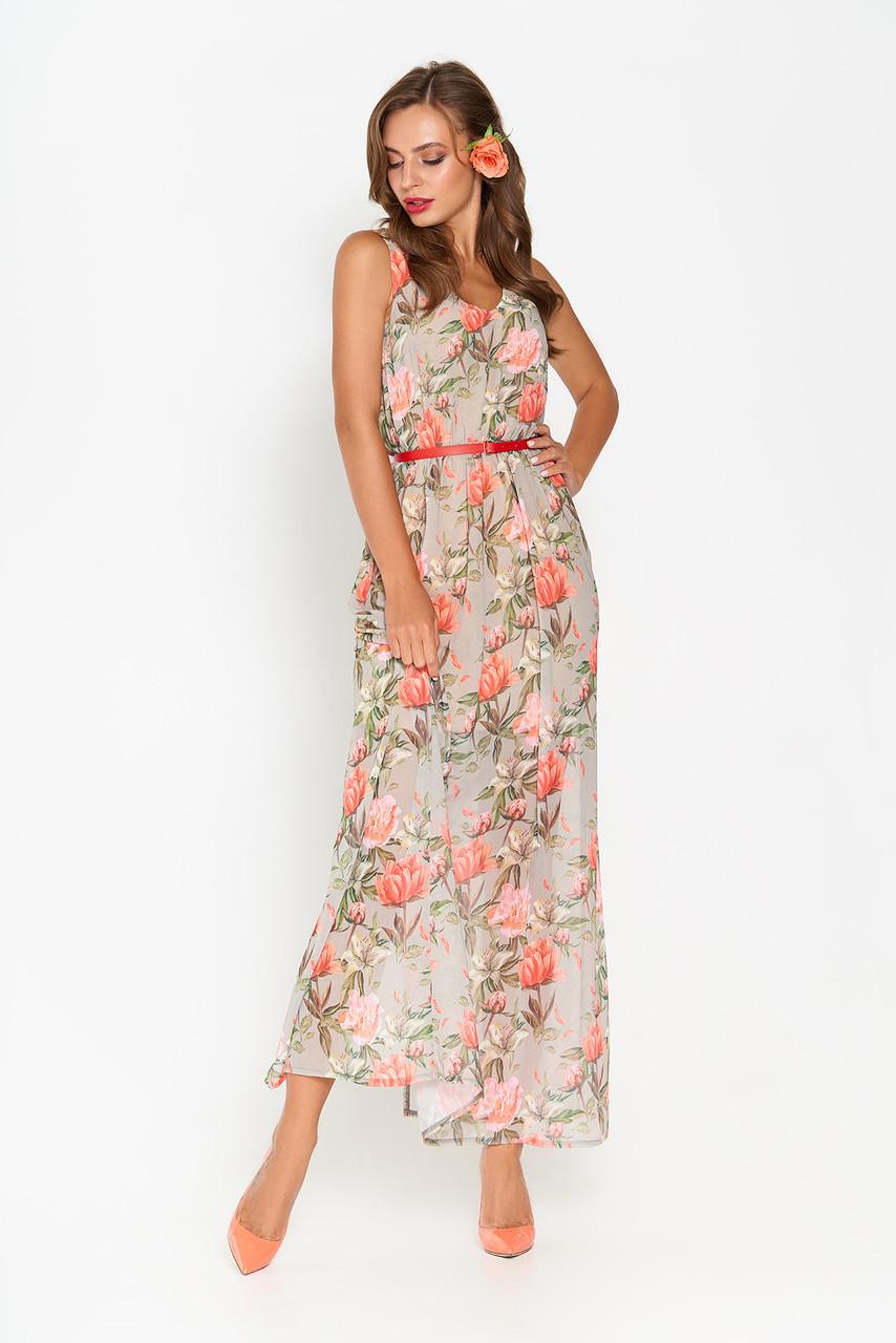 Летнее шифоновое платье в пол серое