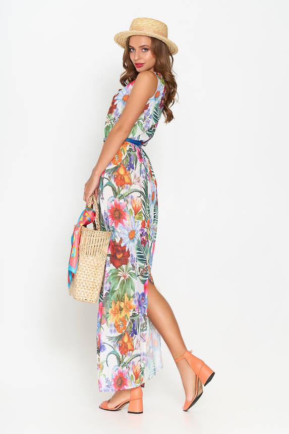 Летнее шифоновое платье в пол белое, фото 2