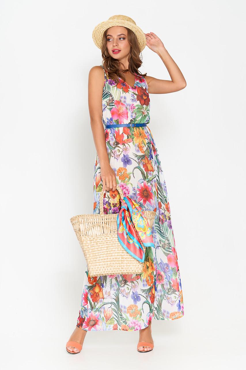Летнее шифоновое платье в пол белое