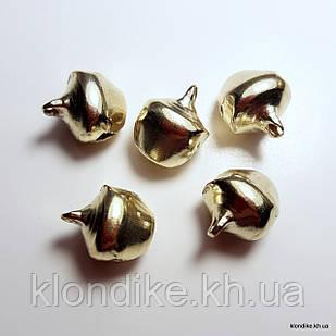 Бубенчики, Металлические, 7×8 мм, Цвет: Золото (50 шт.)