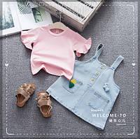 Джинсовый сарафан с футболкой, набор для девочки детский, на 2, 4, 5, года.