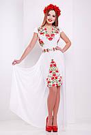 Нарядное женское белое платье с фольклорным принтом и съемной юбкой  Аркадия б/р