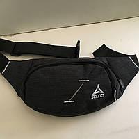Поясная сумка черная Select 2 отделения (Бананка, Сумка на пояс, сумка на плечо), фото 1