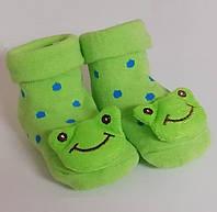 Носки-игрушки для младенцев Жабки не скользящие с 0-6 месяцев, фото 1