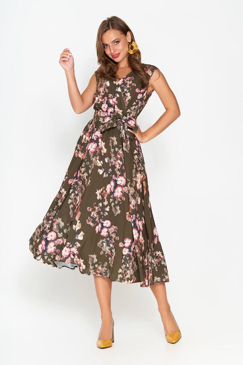 Летнее платье миди без рукава хаки