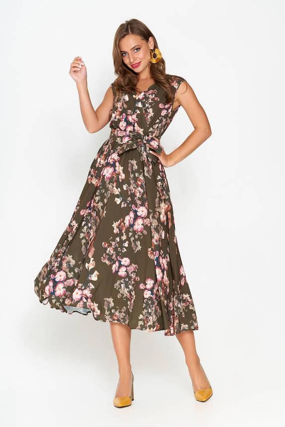 Летнее платье миди без рукава хаки, фото 2
