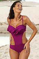 Сдельный купальник монокини цвета фуксии с воланом и чашечками push-up