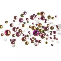 Камни Микс стекло 100 шт розовые с салатовым