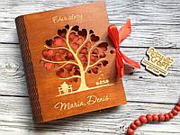 Фотоальбом в деревянной обложке с гравировкой (№2) (красное дерево)