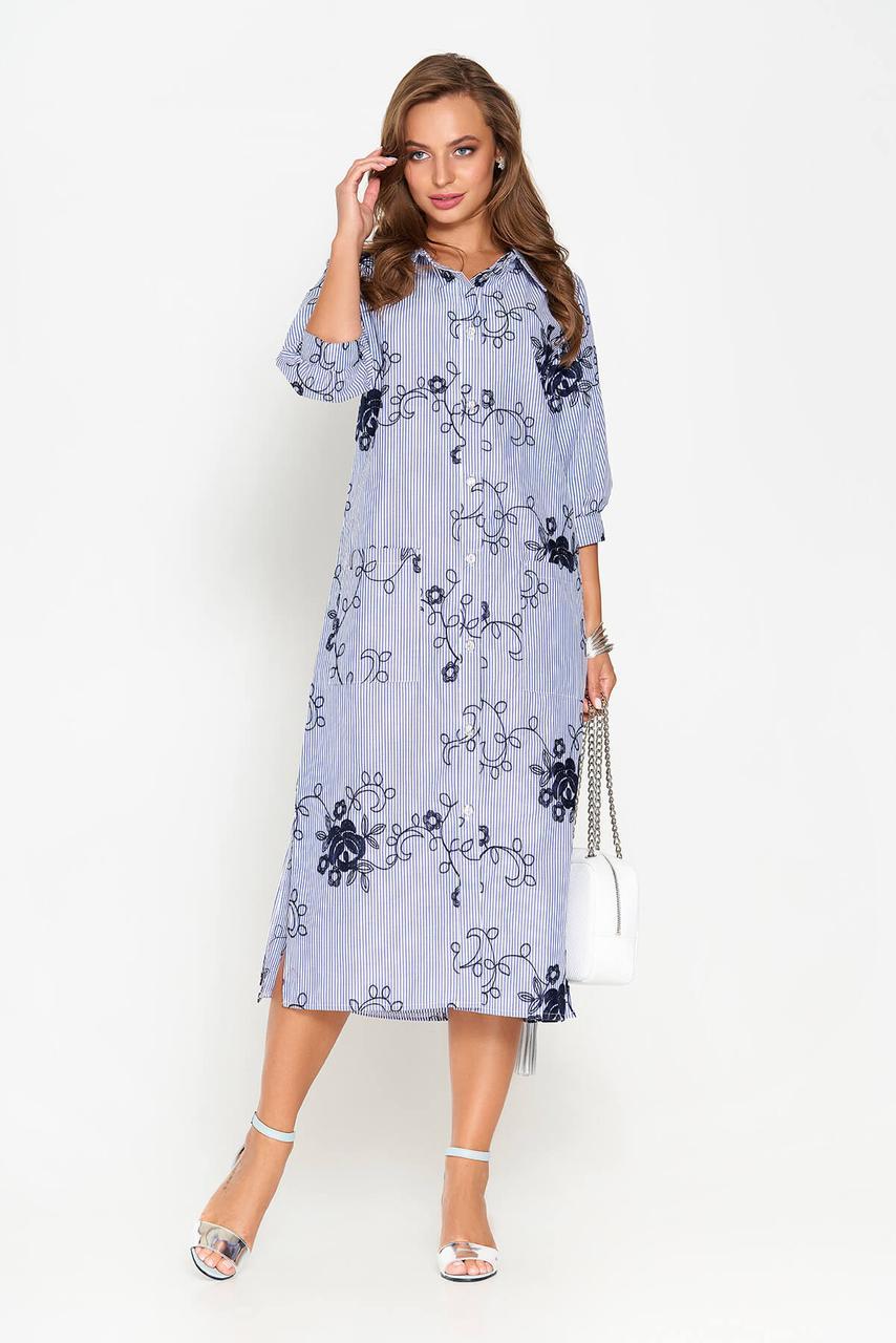 Летнее платье рубашка длинное с вышивкой синее