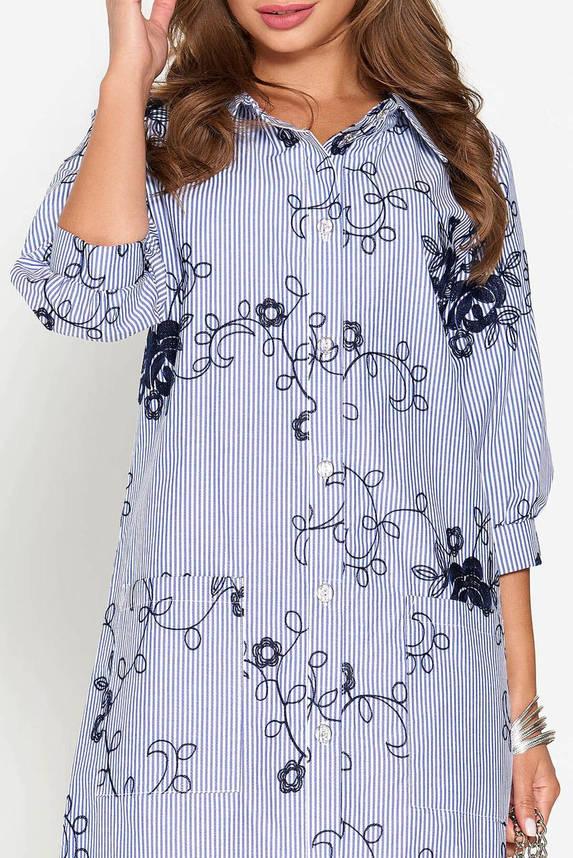 Летнее платье рубашка длинное с вышивкой синее, фото 2
