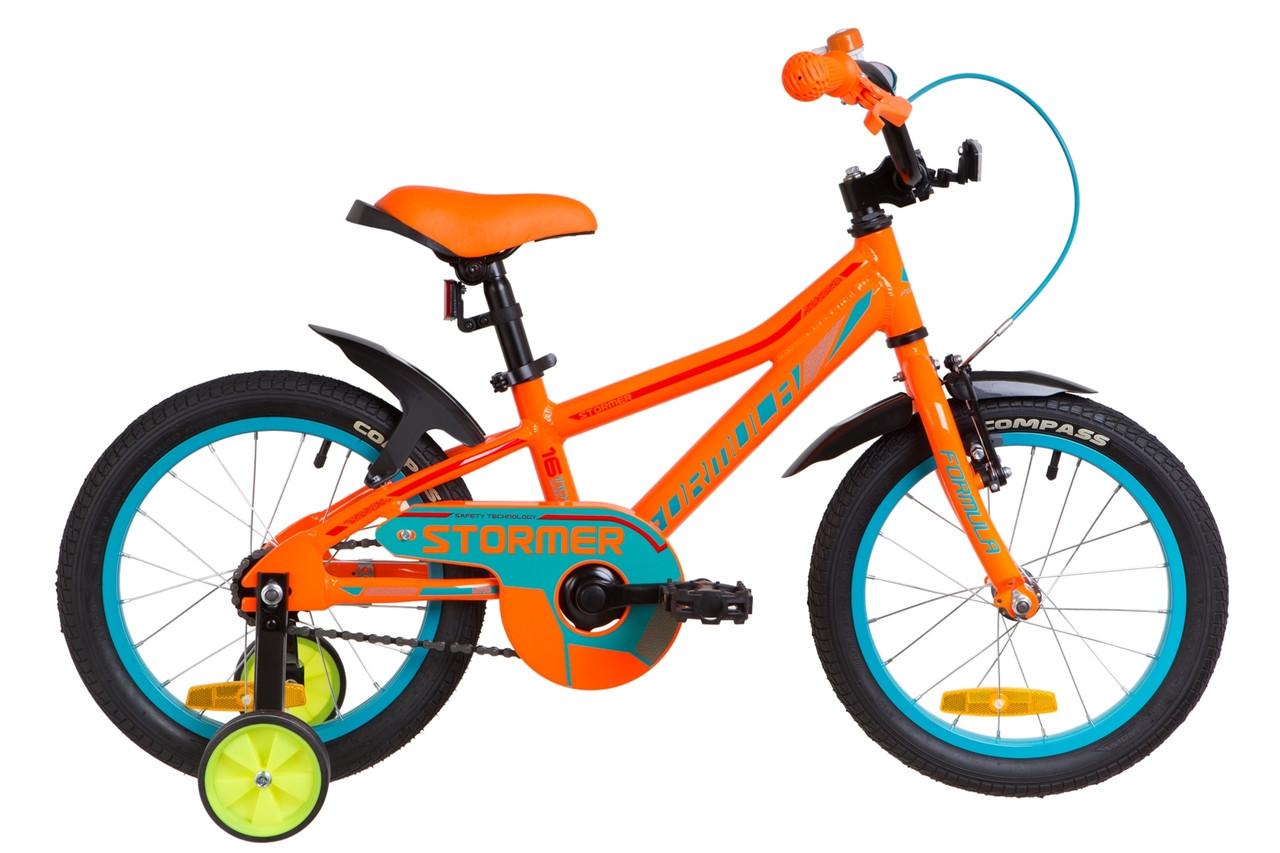 """Велосипед детский с боковыми колесами Formula Stormer 18"""" алюминиевая рама красный"""