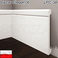 Высокий белый плинтус Cezar Elegance LPC-30, H=138 мм., фото 1