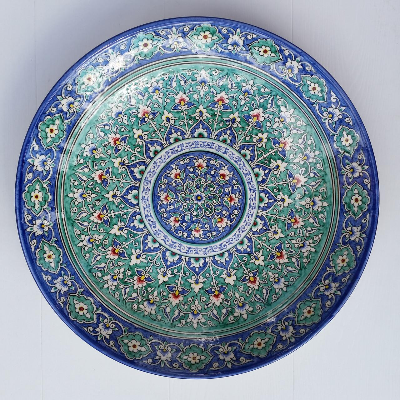 УЦЕНКА. Авторское блюдо из красной глины d 42 см. Узбекистан