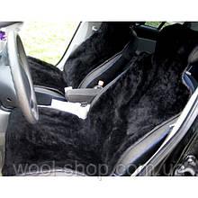 Авто чехол из натуральной цельной коже цигейки с подголовником черный