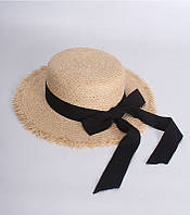 Шляпка канотье женская пляжная с черной ленточкой, фото 1