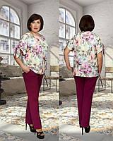 Женский стильный костюм с цветочной блузкой №903 (р.50-56) \ ягодный
