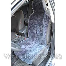 Авто чехол из натуральной цельной коже цигейки с подголовником серый