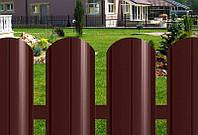 Штакет металличесий коричневый двухсторонний