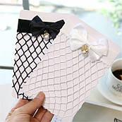 Носки женские с бантом и жемчужиной из сетчатой ткани